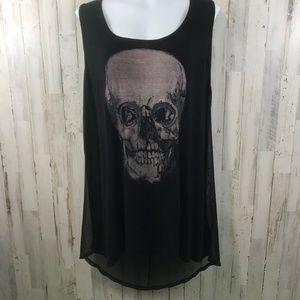 Torrid Womens Top 2 Black Skull Tunic Sheer Back